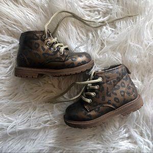 Trendy animal print boots leopard print